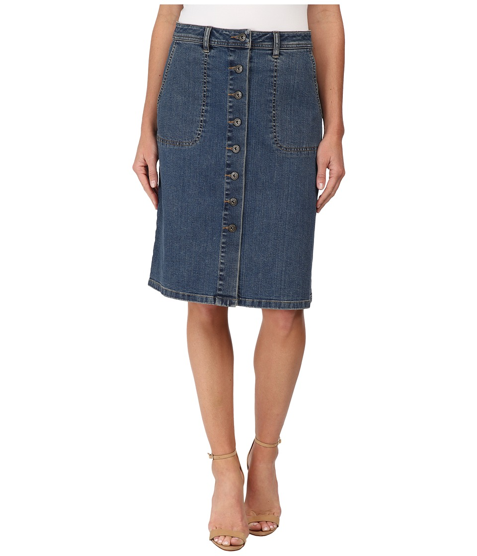 TWO by Vince Camuto - Denim A-Line Button Front Midi Skirt (Authentic) Women's Skirt