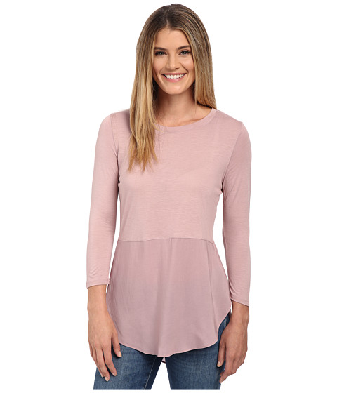 TWO by Vince Camuto - Long Sleeve Mixed Media Crew Neck Tunic (Mauve Dust) Women's Blouse