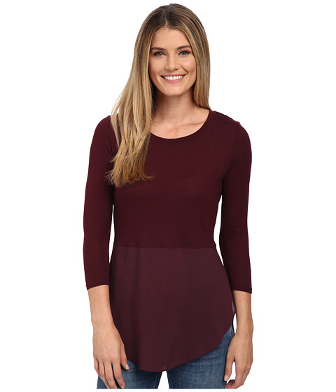 TWO by Vince Camuto - Long Sleeve Mixed Media Crew Neck Tunic (Mahogany) Women's Blouse