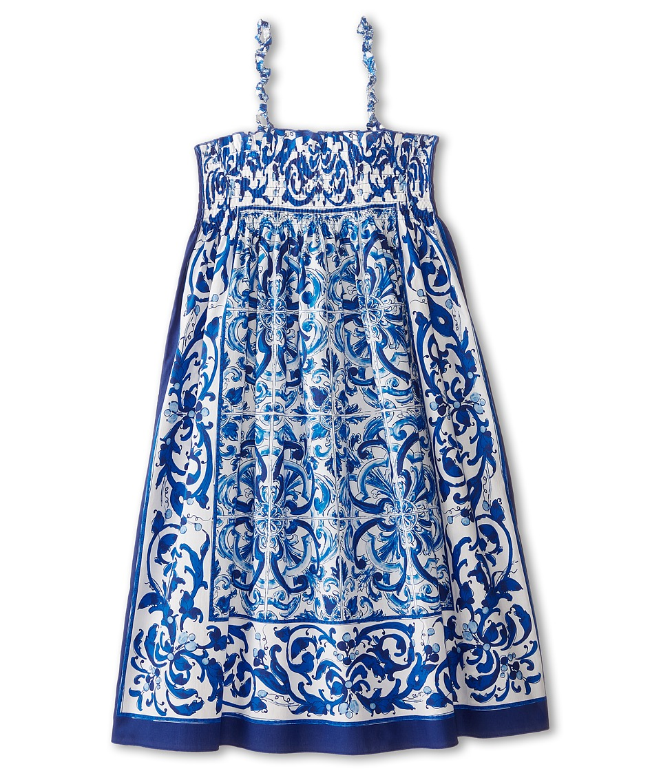 Dolce & Gabbana - Mediterranean Cover-Up Dress (Big Kids) (White/Blue Print) Women's Dress