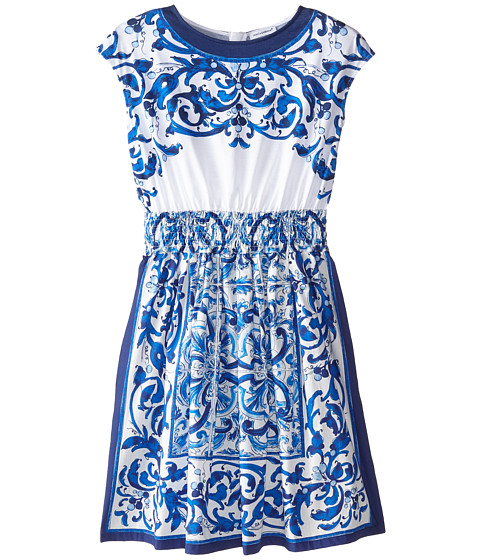 Dolce & Gabbana - Mediterranean Sleeveless Dress (Big Kids) (White/Blue Print) Women's Dress