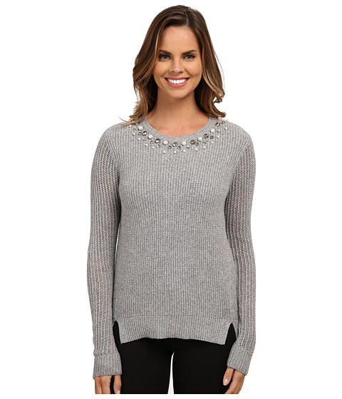 Adrianna Papell - Scoop Embellished Neck Sweater (Light Heather) Women's Sweater