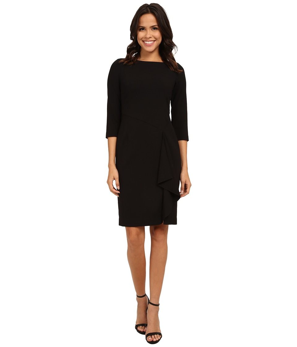 Adrianna Papell - Dress w/ Side Cascade Ruffle (Black) Women's Dress