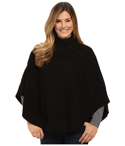 TWO by Vince Camuto - Rib Stitch Turtleneck Cape (Rich Black) Women's Sweater