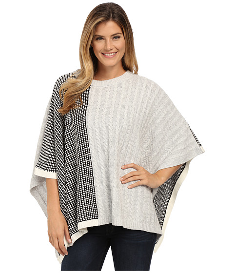 TWO by Vince Camuto - Cable Waffle Stitch Crew Neck Poncho (Grey Heather) Women