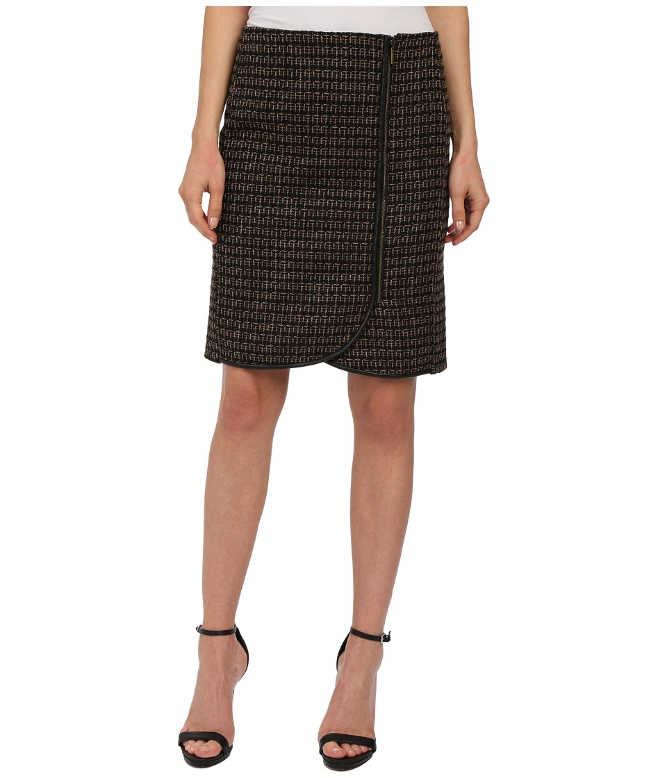 Adrianna Papell - Faux Wrap Tweed Skirt (Camel/Black) Women