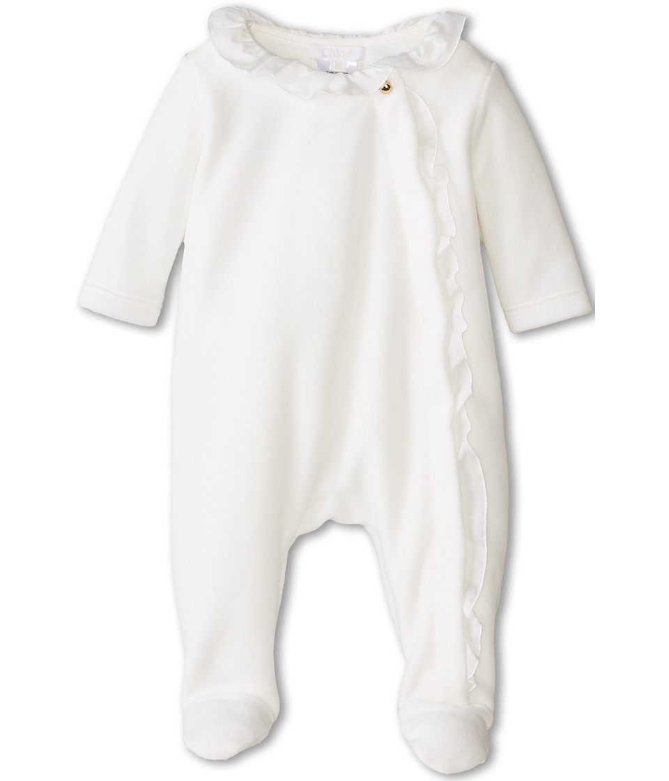 Chloe Kids - Velour Footie In a Box (Infant) (Off White) Girl