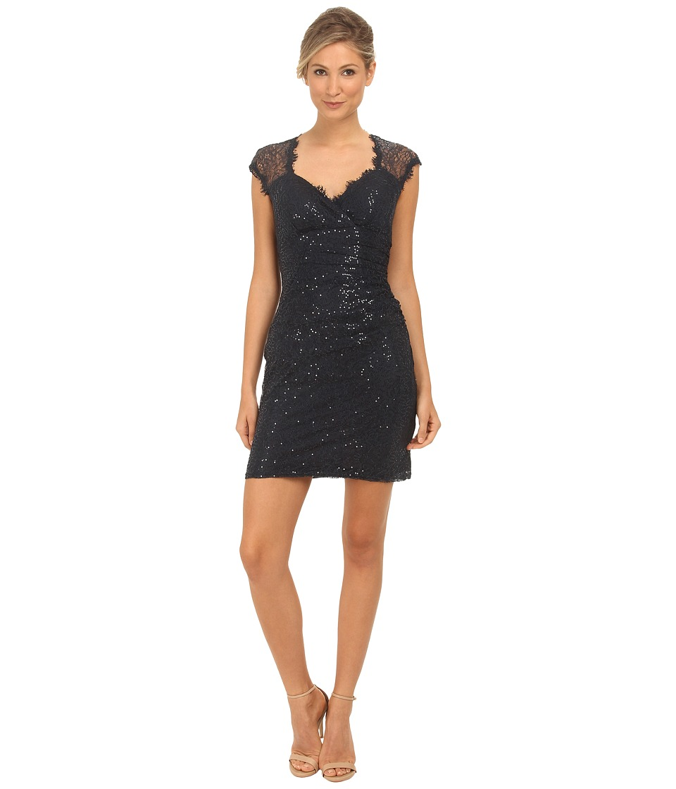 rsvp - Sequin Short Dress with Keyhole Back (Navy) Women's Dress