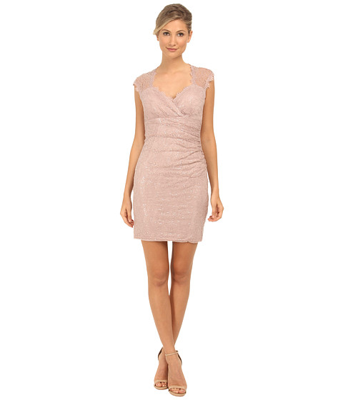 rsvp - Sequin Short Dress with Keyhole Back (Blush) Women's Dress