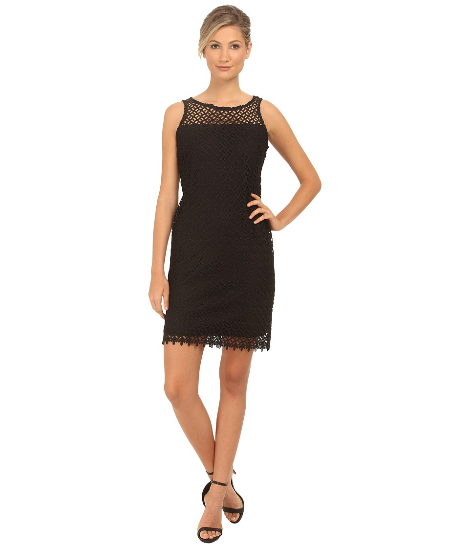 rsvp - Short Lace Sheath Thank Dress (Black) Women's Dress