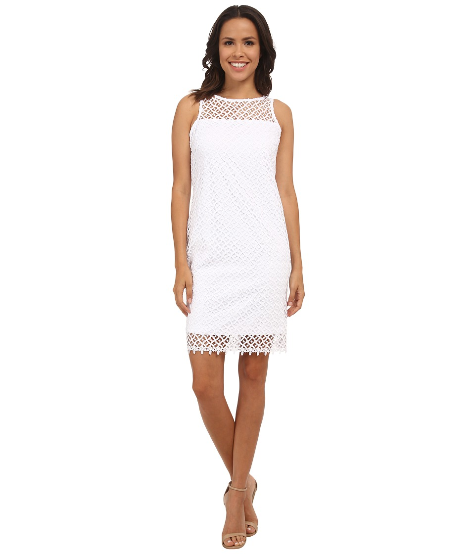 rsvp - Short Lace Sheath Thank Dress (White) Women's Dress