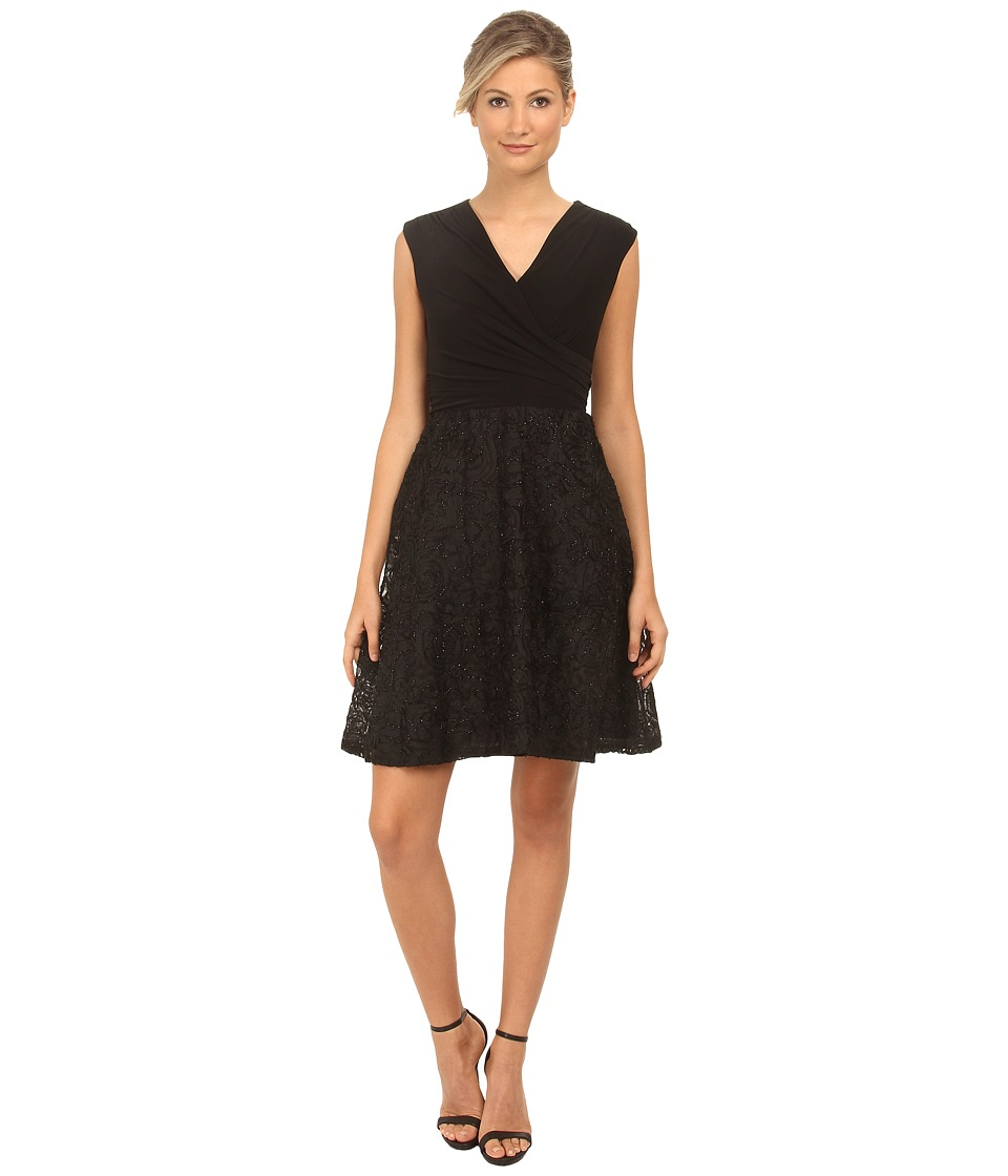 rsvp - Cap Sleeve Jersey Dress with Beaded Soutache Skirt (Black) Women's Dress