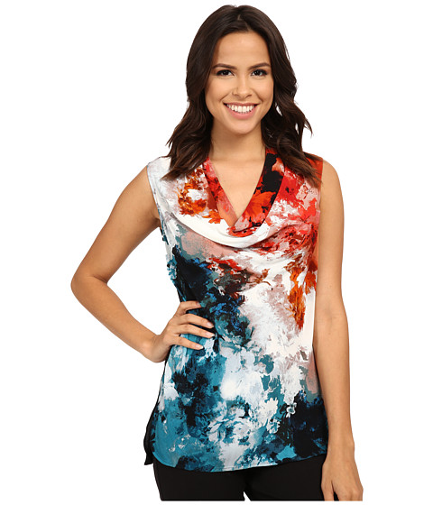 Adrianna Papell - Printed Cowl Neck Shell (Burnt Orange/Pool) Women's Clothing