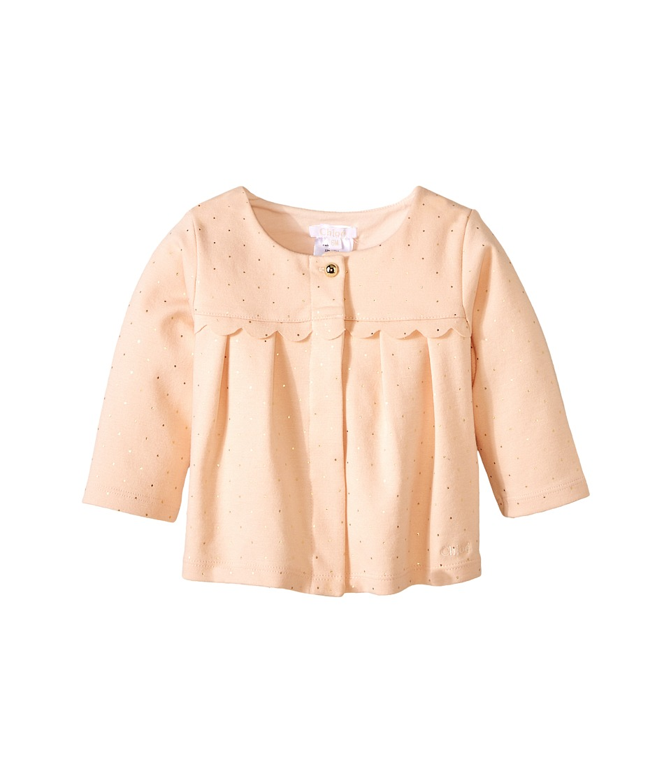 Chloe Kids - Mini Gold Dot Cardigan (Infant) (Pale Pink) Girl's Sweater