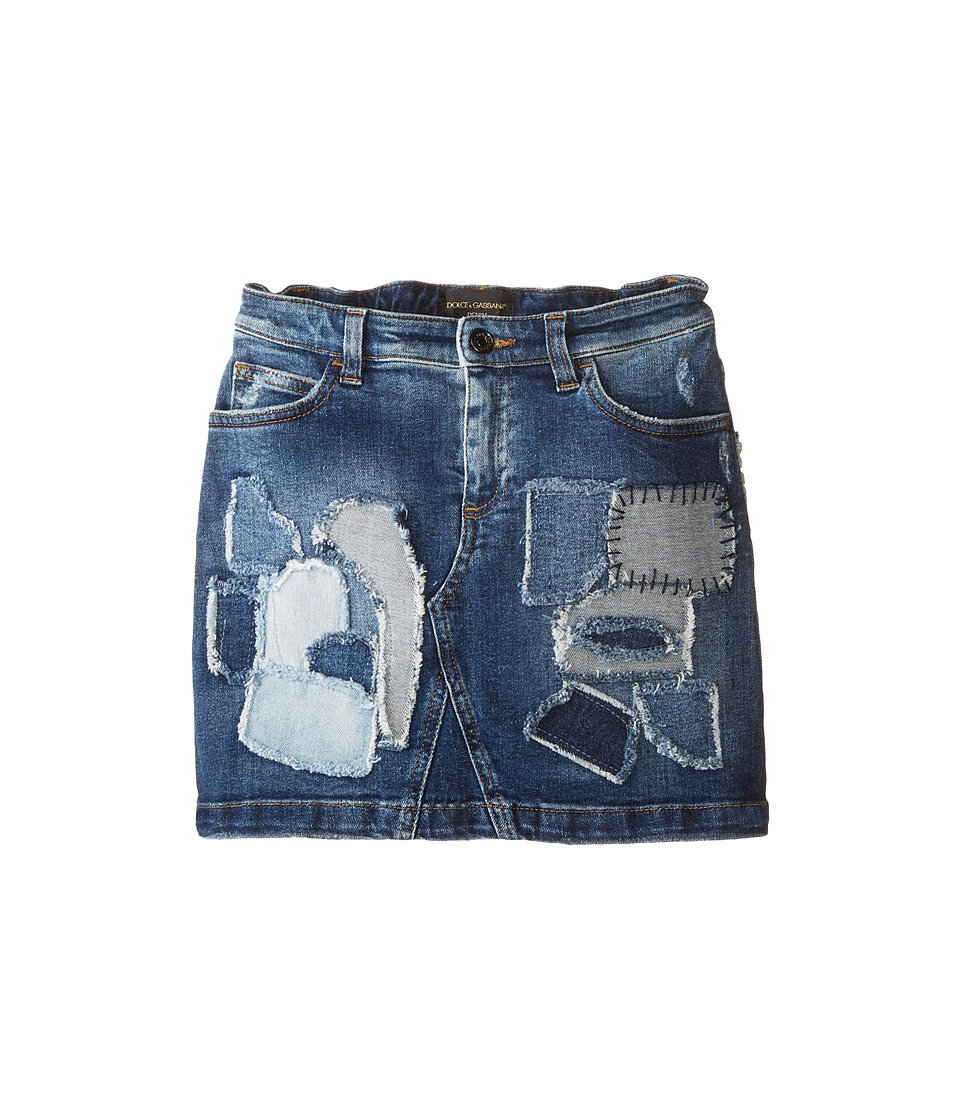 Dolce & Gabbana Kids - Mediterranean Distressed Denim Skirt (Toddler/Little Kids) (Blue Demin/Patent) Girl's Skirt