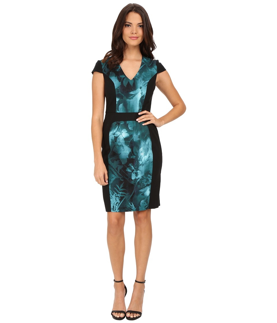 Adrianna Papell - Cap Sleeve Printed Block Dress (Teal Multi) Women