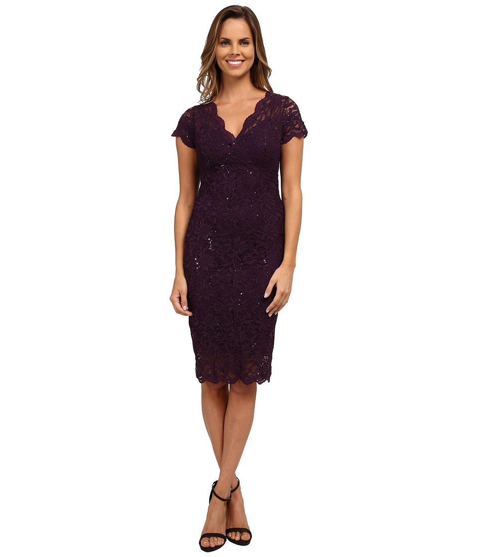 rsvp - Cap Sleeve Floral Lace Empire Dress with Sequins (Purple) Women