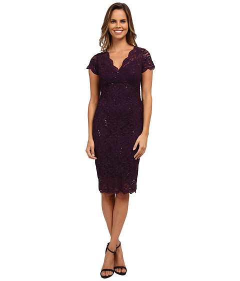 rsvp - Cap Sleeve Floral Lace Empire Dress with Sequins (Purple) Women's Dress