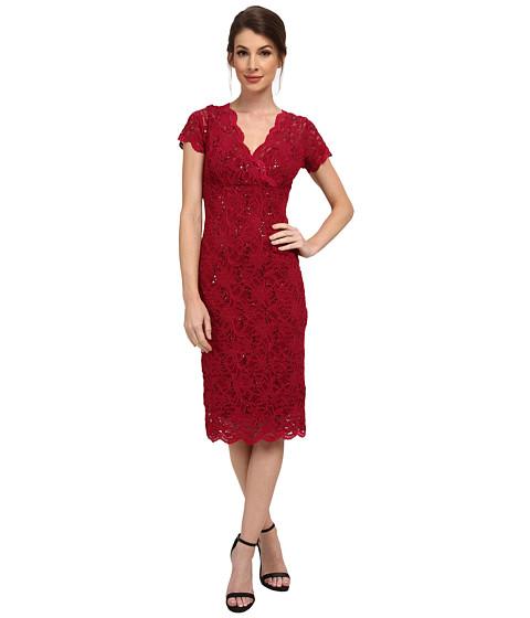 rsvp - Cap Sleeve Floral Lace Empire Dress with Sequins (Cranberry) Women's Dress
