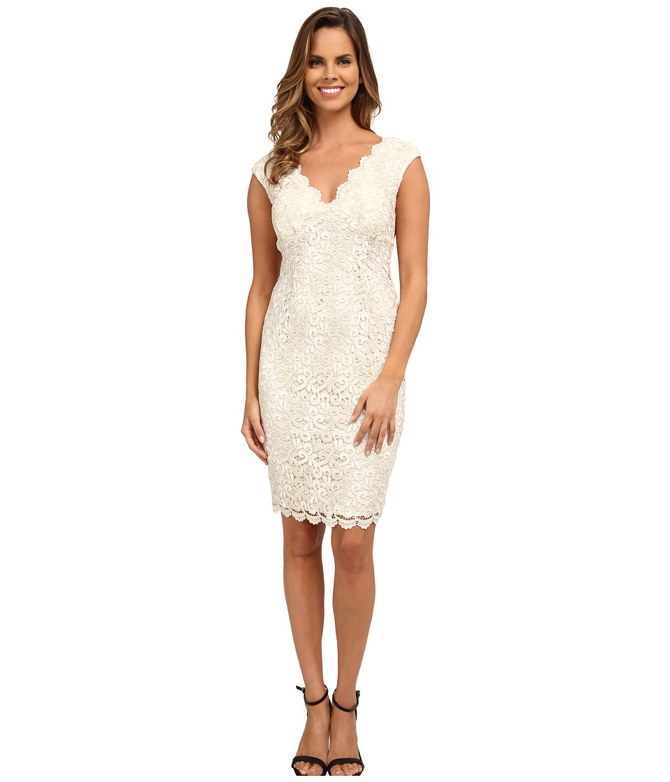 rsvp Short Venice Lace V-Neck Dress (Ivory/Gold) Women