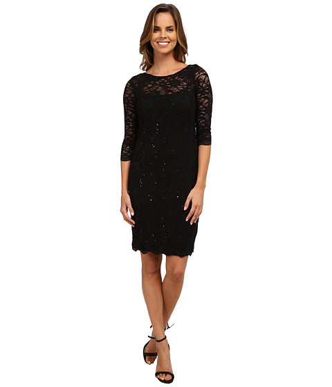 rsvp - 3/4 Sleeve Stretch Lace Dress with Sequins (Black) Women's Dress