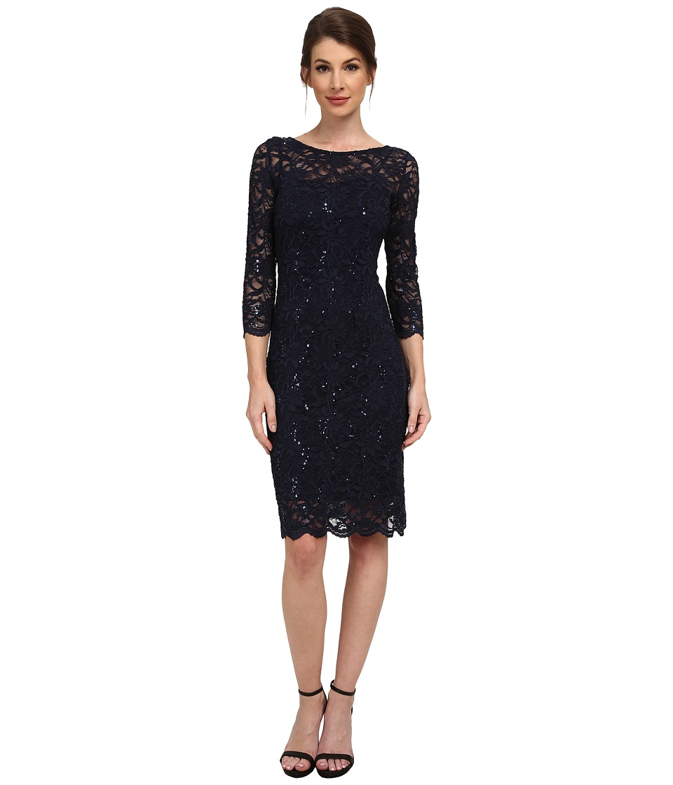 rsvp 3/4 Sleeve Stretch Lace Dress with Sequins (Navy) Women