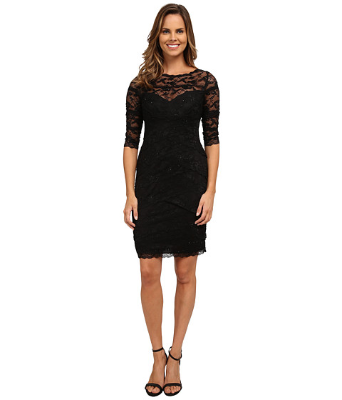 rsvp - Beaded Stretch Illusion Neckline Dress (Black) Women