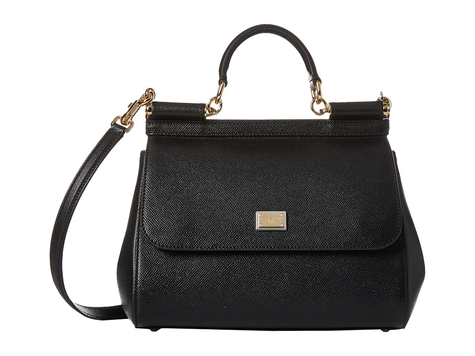 Dolce & Gabbana - Borsa A Mano Vitello Stampa Dauphine (Nero) Top-handle Handbags