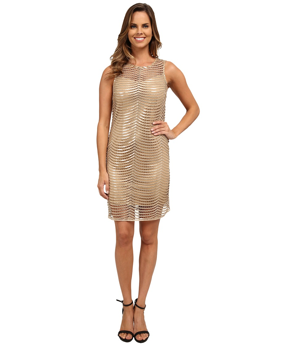 rsvp - Sleeveless Sequin Netting Dress (Gold) Women's Dress