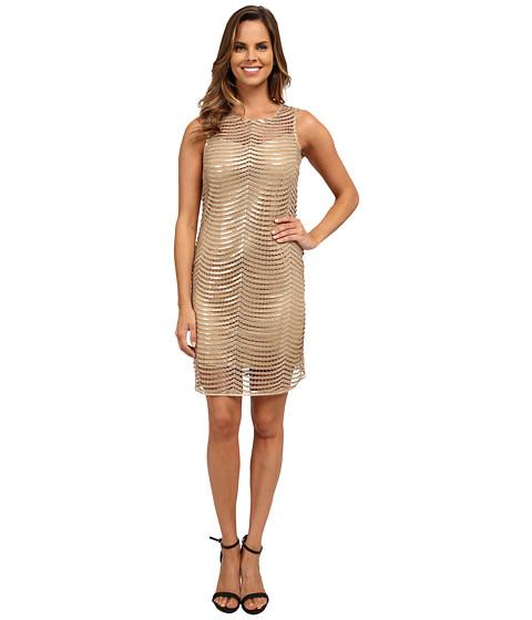 rsvp - Sleeveless Sequin Netting Dress (Gold) Women