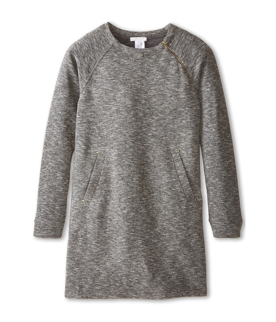 Chloe Kids - Fleece Dress with Two Front Pockets (Little Kids/Big Kids) (Dark Grey) Girl's Dress