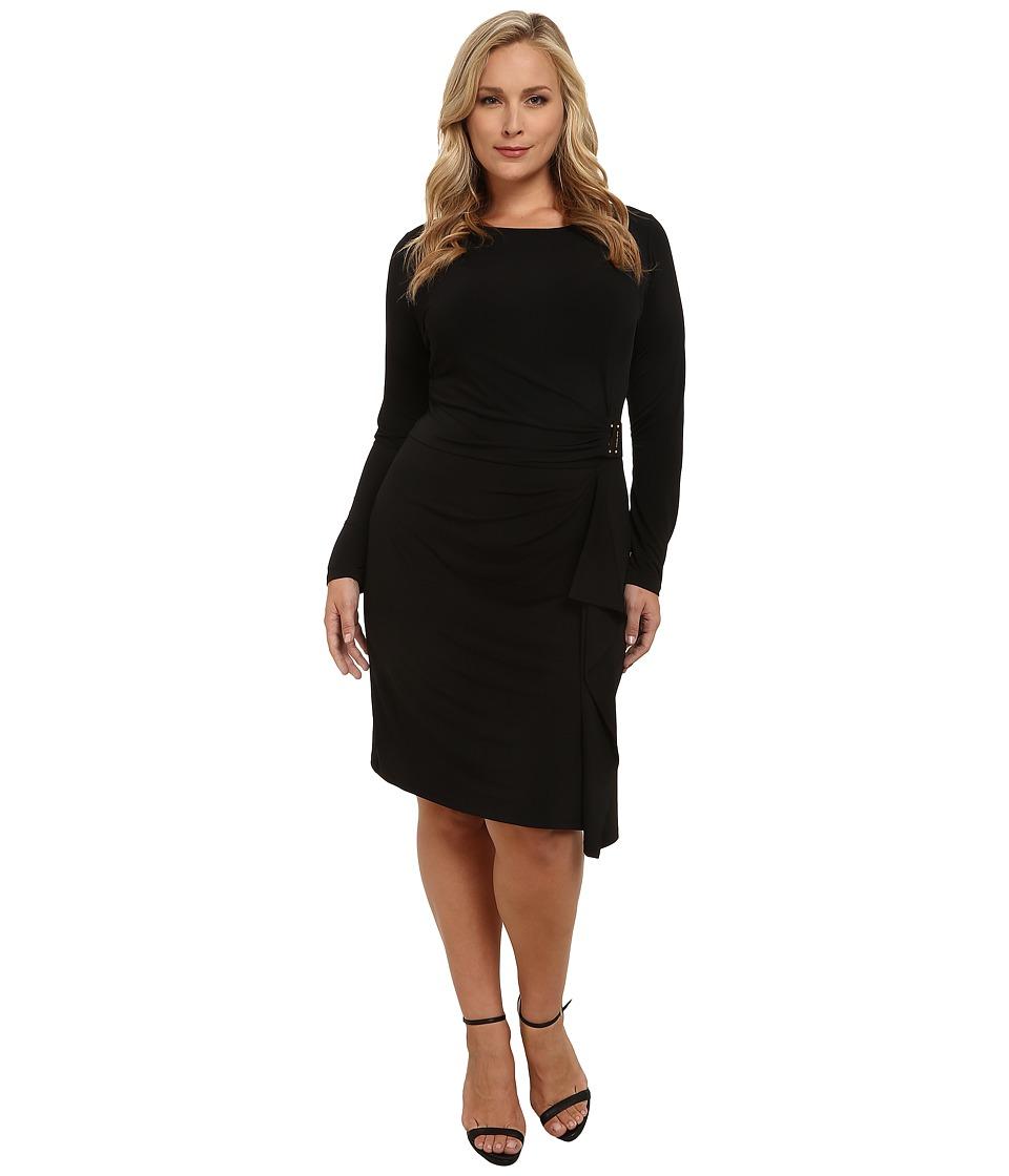 MICHAEL Michael Kors - Plus Size Logo Plate Trim Matte Jersey Dress (Black/Gold) Women
