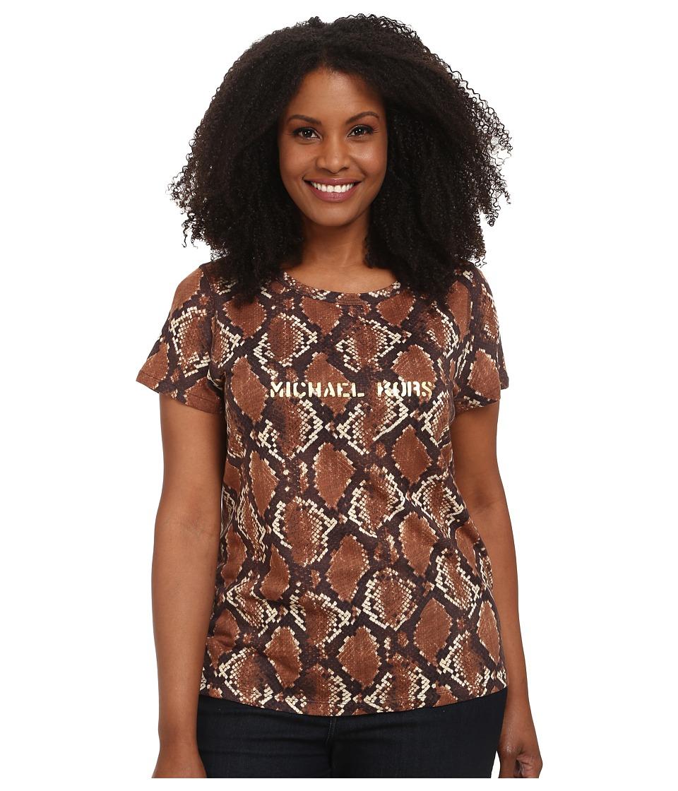 MICHAEL Michael Kors - Plus Size Tokara Short Sleeve Logo Tee (Dark Ecru) Women