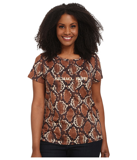 MICHAEL Michael Kors - Plus Size Tokara Short Sleeve Logo Tee (Dark Ecru) Women's T Shirt