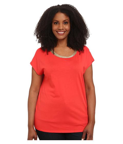 MICHAEL Michael Kors - Plus Size Metalic Trim Box Top (Coral Reef) Women's Clothing