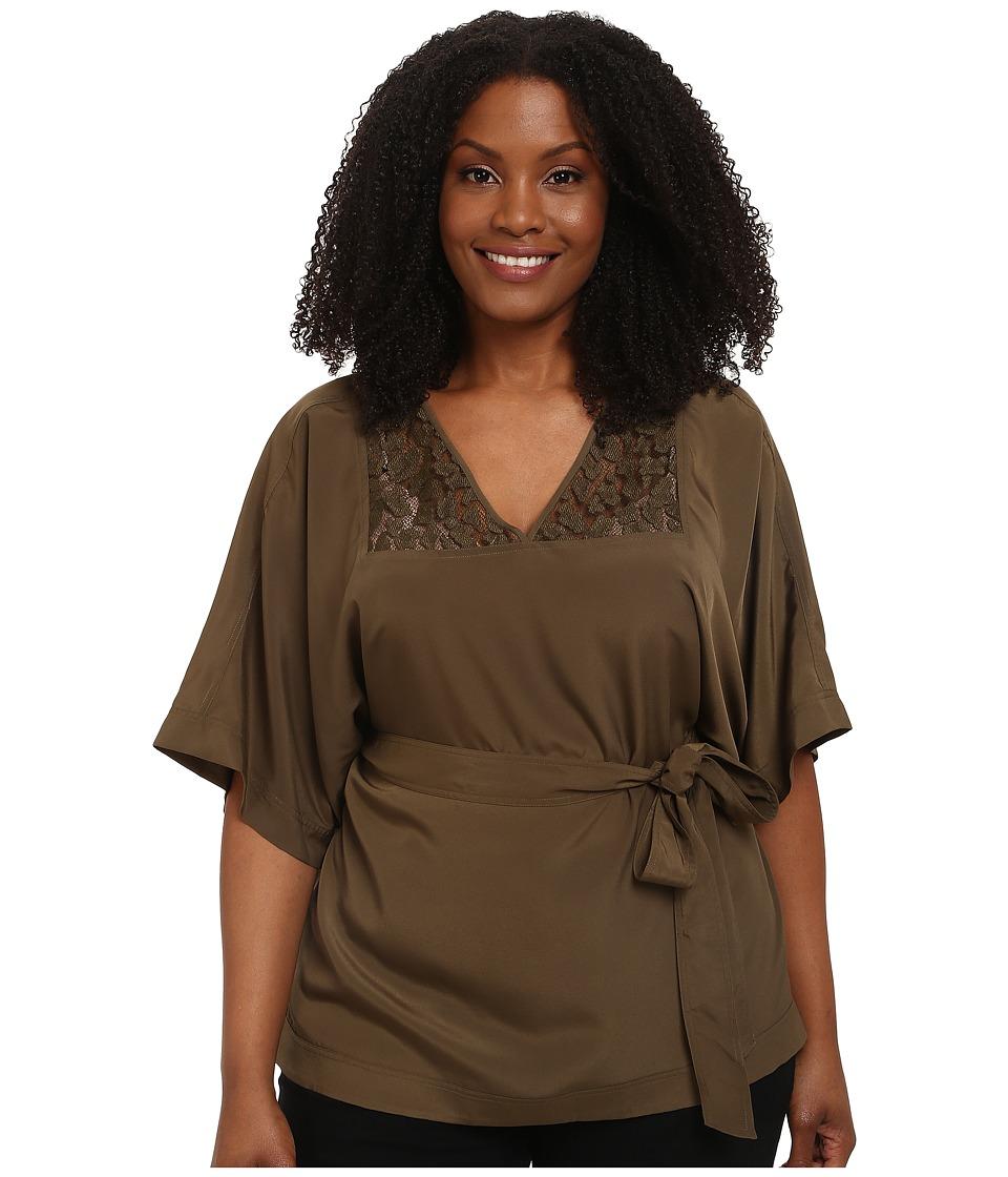 MICHAEL Michael Kors - Plus Size Lace Insert Tie Belt Top (Duffle) Women's Short Sleeve Pullover