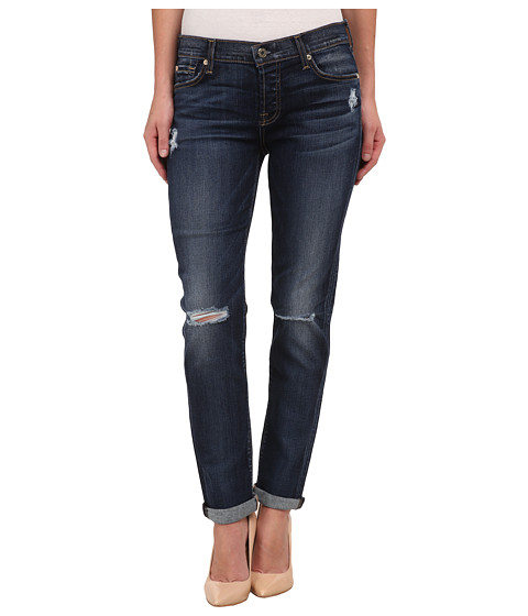 7 For All Mankind - Josefina with Knee Holes in Marie Vintage Blue 3 (Marie Vintage Blue 3) Women