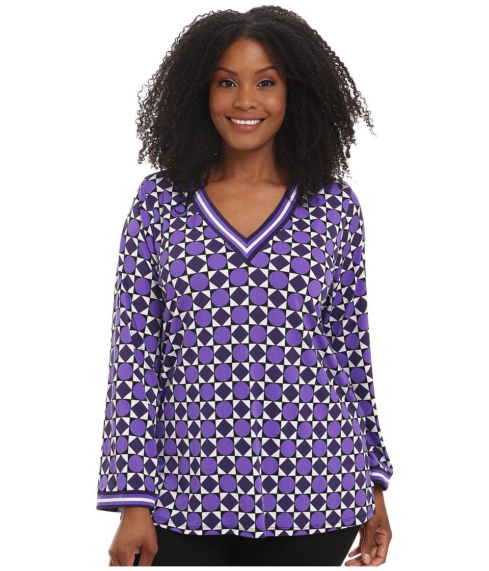 MICHAEL Michael Kors - Plus Size Constantine Border Tunic (Iris) Women's Blouse plus size,  plus size fashion plus size appare