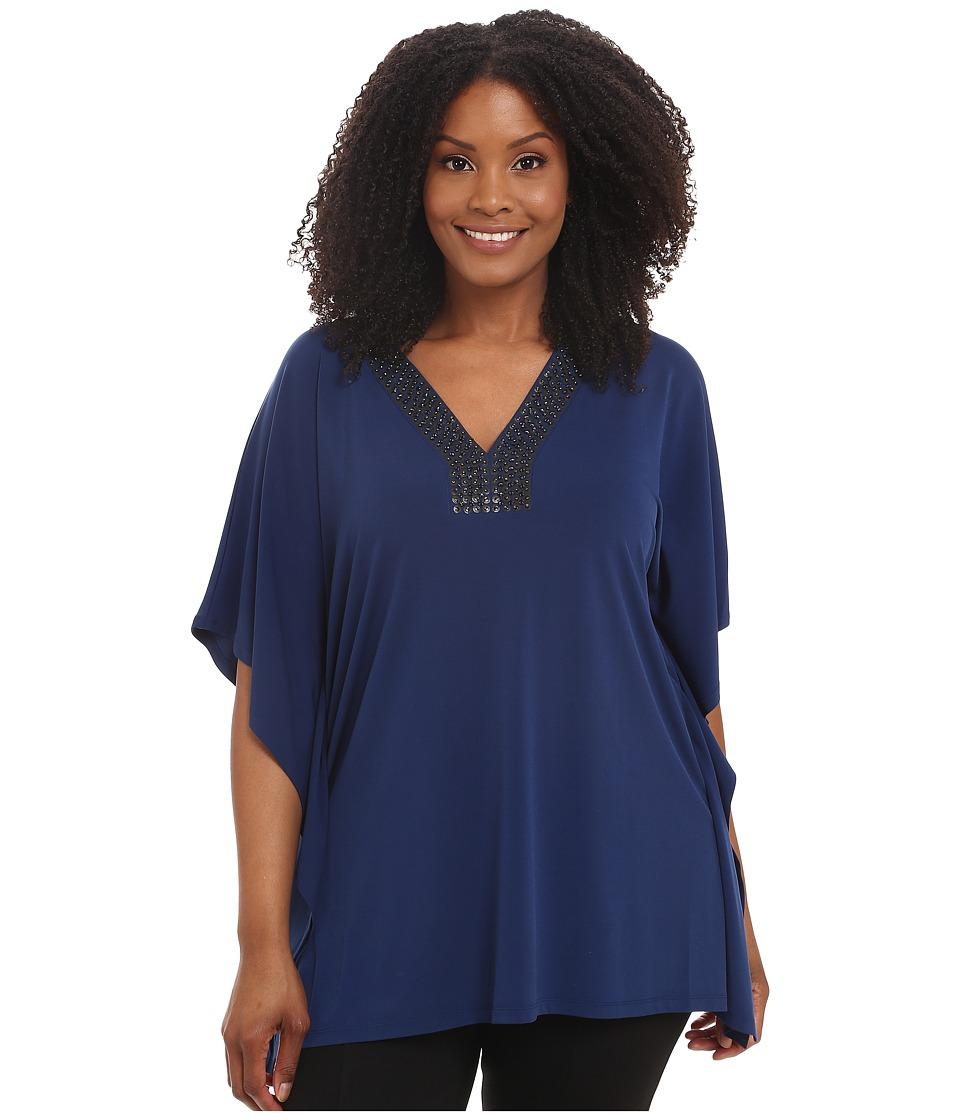 MICHAEL Michael Kors - Plus Size Embellished Neck Drape Tunic (Sapphire) Women's Blouse