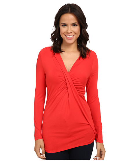 Adrianna Papell - V-Neck Long Sleeve Top Gathered AT Chest (Cayenne) Women