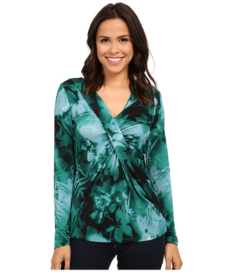 Adrianna Papell - Printed V-Neck Long Sleeve Top Gathered AT Chest (Teal Multi) Women