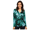 Adrianna Papell - Printed V-Neck Long Sleeve Top Gathered AT Chest