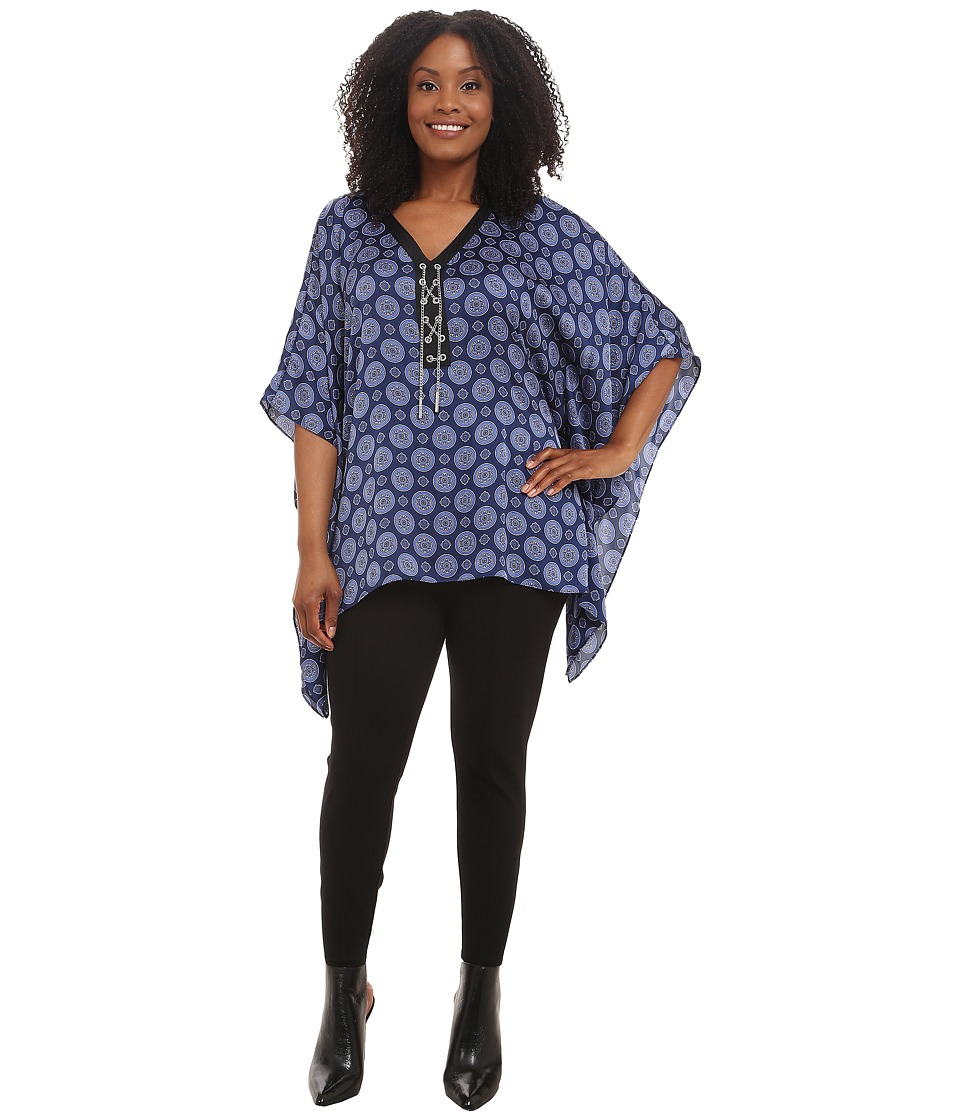 MICHAEL Michael Kors - Plus Size Kent Fou Laceup Poncho Top (Sapphire) Women's Blouse plus size,  plus size fashion plus size appare