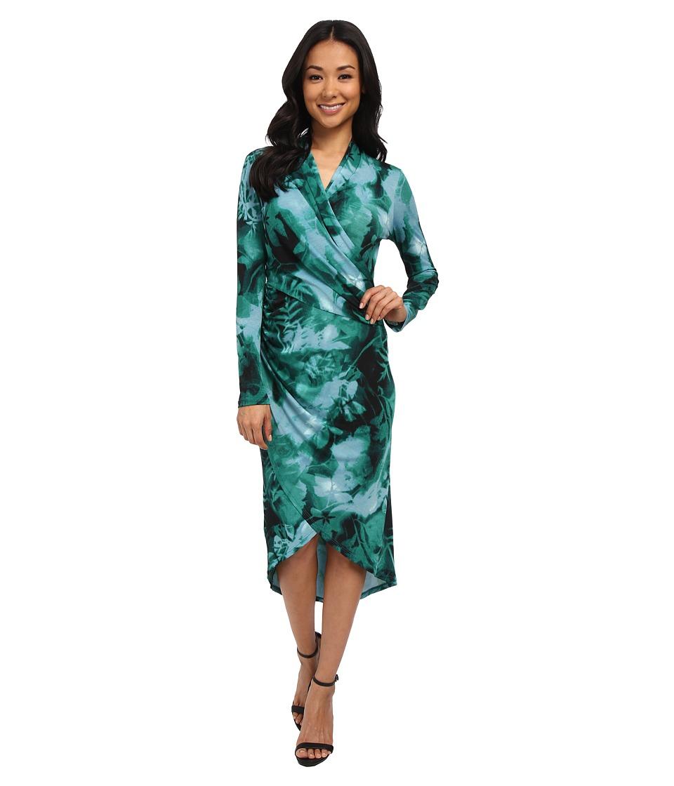 Adrianna Papell - Printed V-Neck Long Sleeve Wrap Dress (Teal Multi) Women's Dress