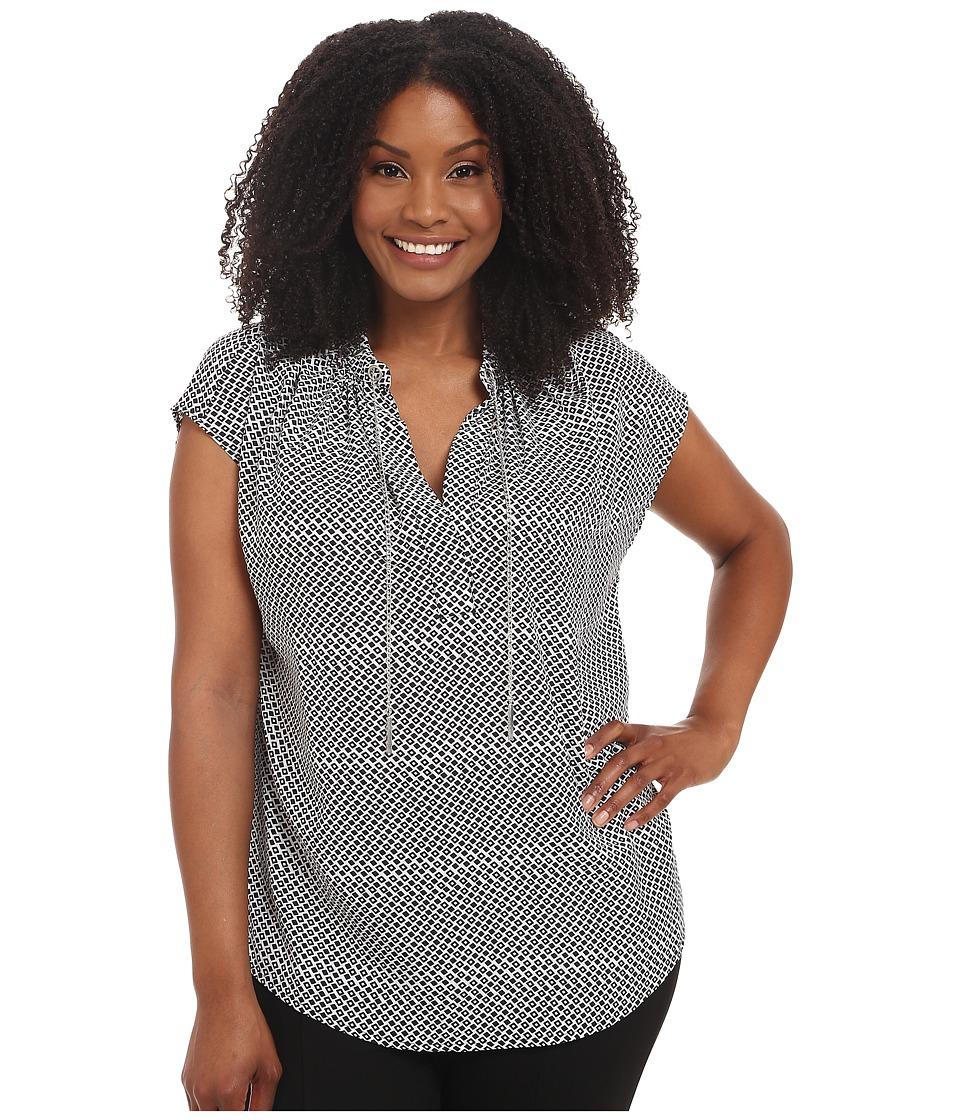 MICHAEL Michael Kors - Plus Size Renfren Grommet Flutter Top (Black) Women's Clothing