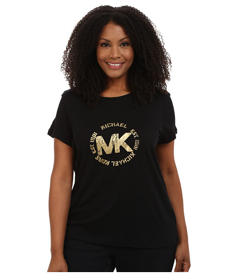 MICHAEL Michael Kors - Plus Size Foil Logo Tee (Black/Gold) Women's T Shirt