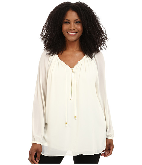 MICHAEL Michael Kors - Plus Size Zip Peasant Tunic (Cream) Women