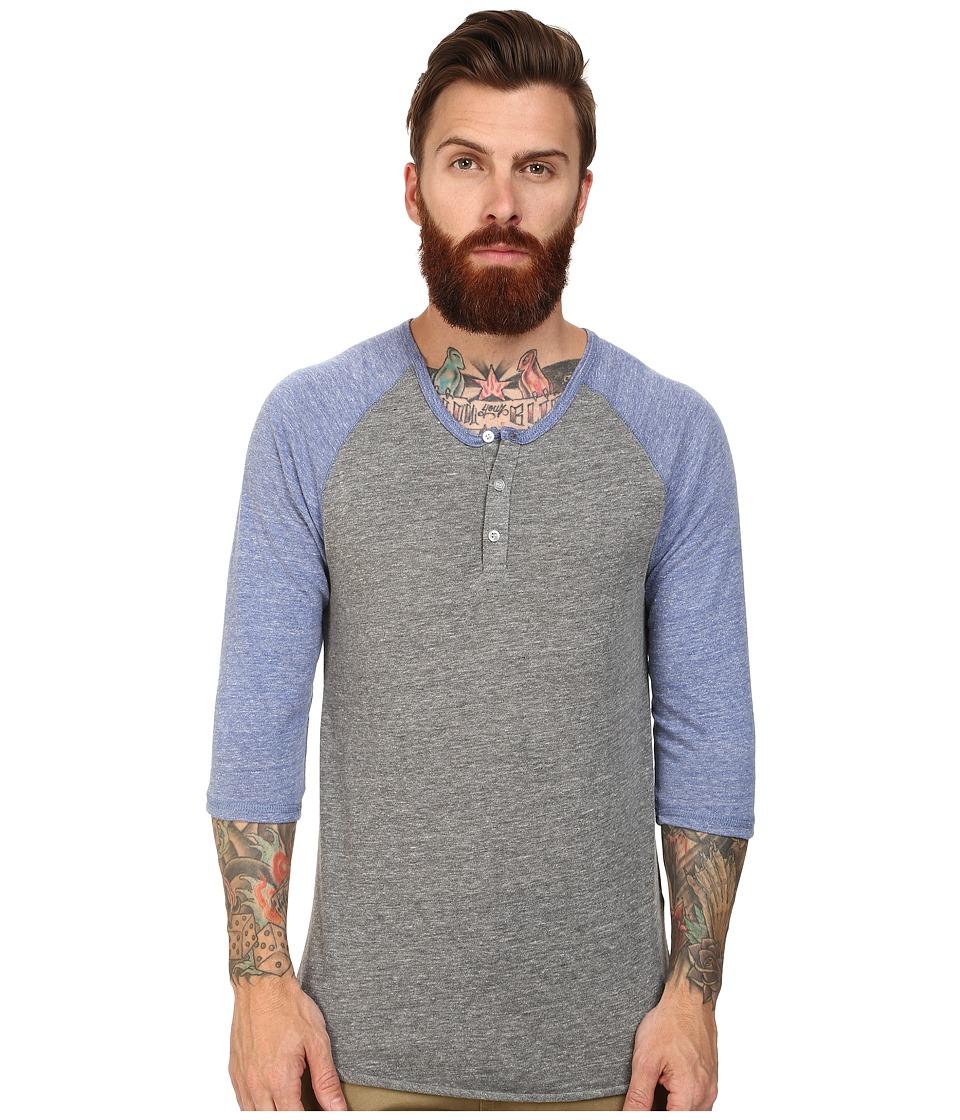 Image of Alternative - 3/4 Raglan Henley (Eco Grey/Eco Pacific Blue) Men's Long Sleeve Pullover