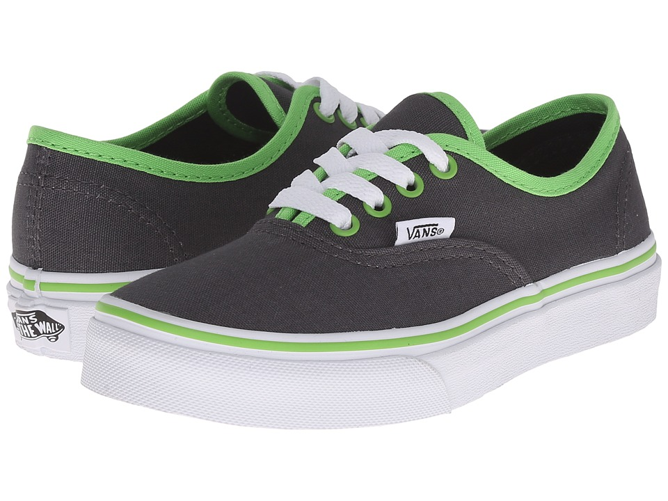 Vans Kids - Authentic (Little Kid/Big Kid) ((Binding Pop) Asphalt/Green Flash) Boys Shoes