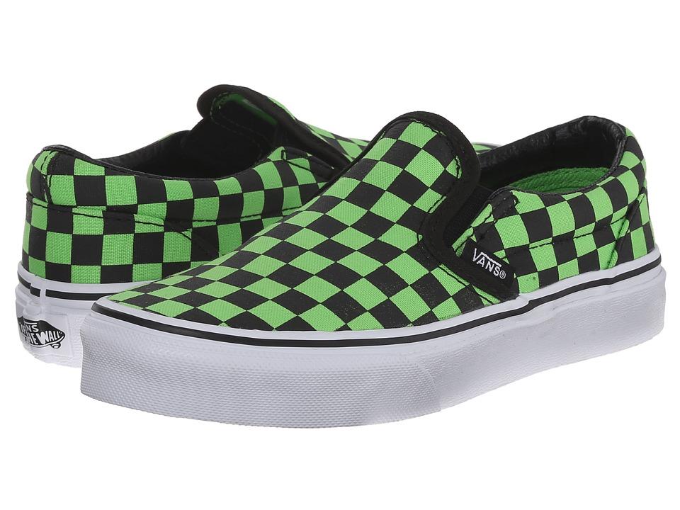 Vans Kids - Classic Slip-On (Little Kid/Big Kid) ((Checkerboard) Black/Green Flash) Boys Shoes